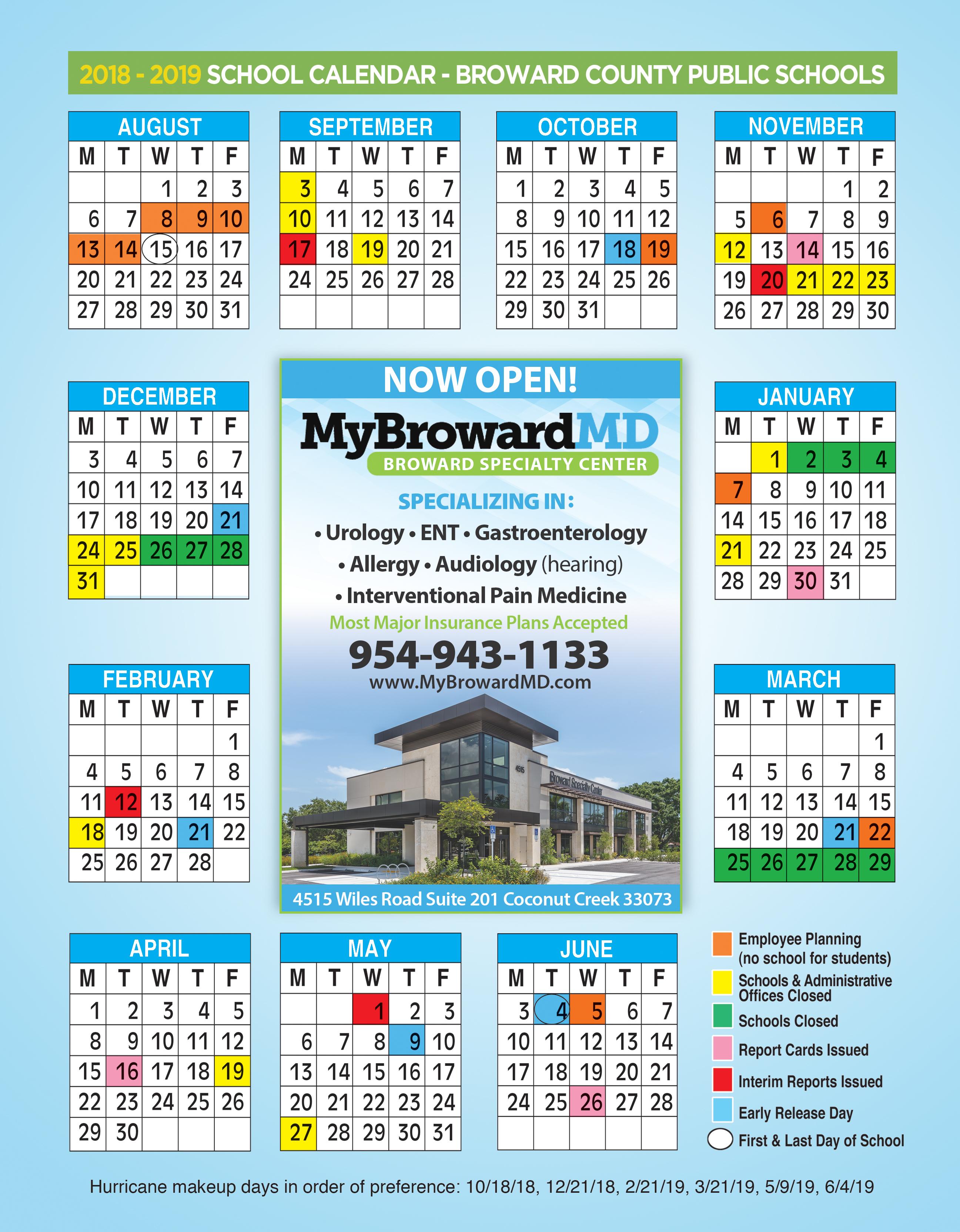 2018 Broward Specialty Center Calendar Ad Spectator Magazine