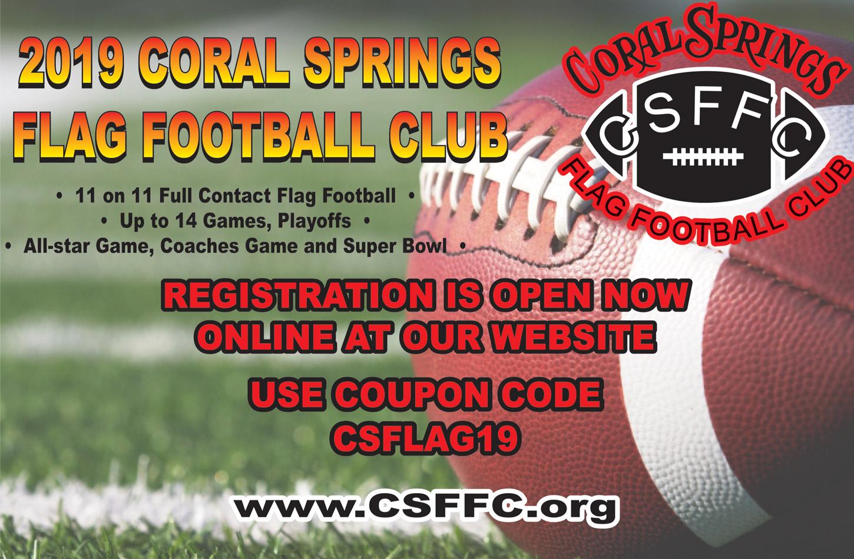 Coral Springs Flag Football ad 2019 - Spectator Magazine